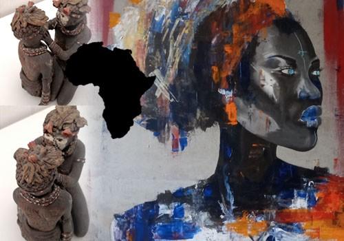 """Exposition """"Ambiances d'Afrique"""" : peintures, sculptures, instruments et cubes illustrés"""