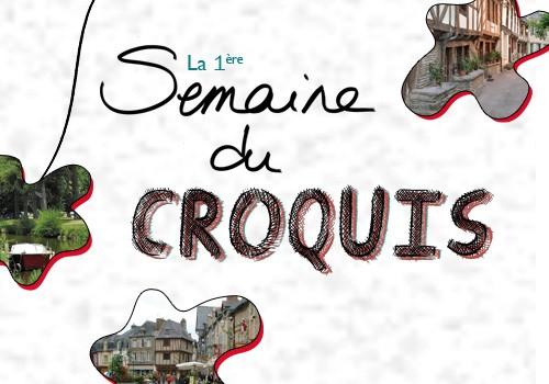 """Semaine du croquis à Malestroit, thème """"le petit marché et la place du Bouffay""""."""
